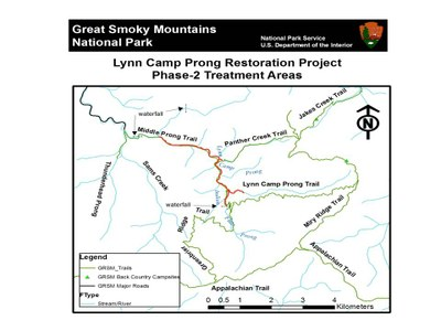 Lynn Camp Prong Project Map, Smoky Mountain National Park, Tennessee