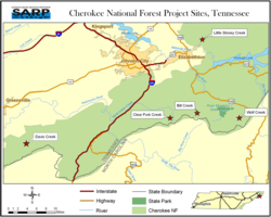 Habitat restoration for Southern Appalachian brook trout in 5 Cherokee National Forest, TN streams