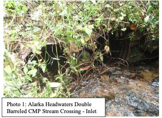 Alarka Headwaters double barreled culvert inlet